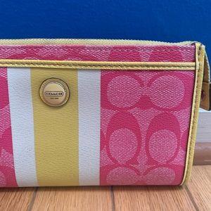 Coach Bags - Coach Signature Stripe PVC Zippy Wallet Wristlet